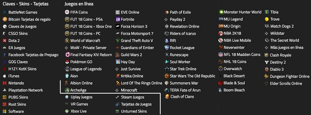 Lista de categorías de juegos en línea, tarjetas, monedas, llaves y máscaras personalizadas disponibles en Mmoga